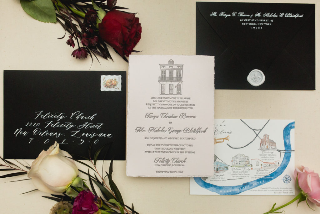 Black and White Invitation Suite New Orleans Wedding