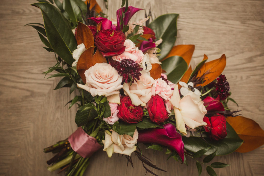 Fall Bouquet Red Pink New Orleans Wedding