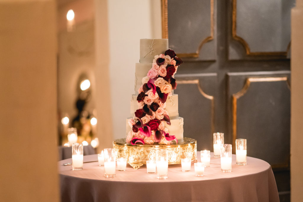 Floral Covered Wedding Cake